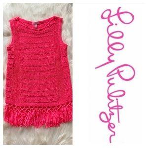 Lily Pulitzer Limon Pink Sleeveless Fringe Sweater